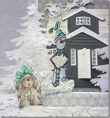 dog and snowman closeup